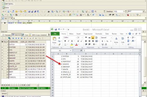 Move Oracle data into Microsoft Excel